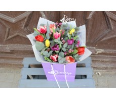 Mix colour 11 tulips bouquet