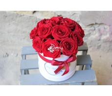 Peony box with 13 roses